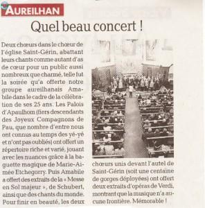 Article de la Dépêche du Midi - concert a Aureilhan