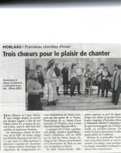 Article de presse - concert de Morlaas en 2009