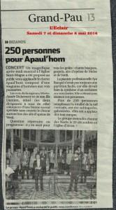 Dans la presse…après le concert de Bizanos du 24 avril 2016 (Journal La République/L'Éclair)