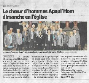 Dans la presse…avant le concert du 3 juillet 2016 à Labatmale (64)